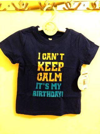 Koala kids keep calm birthday top 深藍色一歲生日 baby tee cake smash