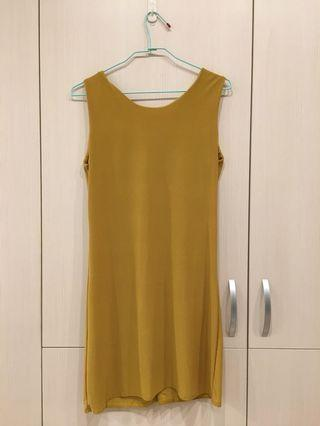 無袖洋裝 短袖洋裝 芥黃色