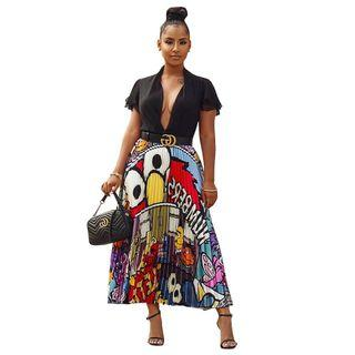 Printed Cartoon Pleated Silk Skirt