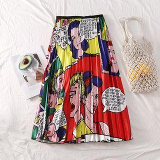Comics Print Pleated Skirt