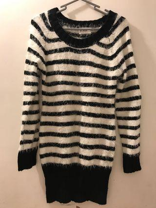 White black striped 間條 長裙 dress 冷衫