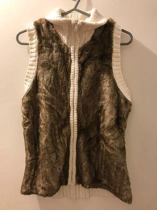 毛毛背心 白色 冷背心 fur vest women top warm