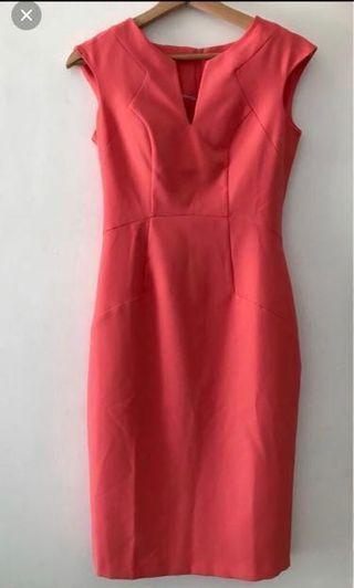 Coral pencil dress, UK 6 - Dorothy Perkins