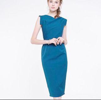 🚚 INTQ Intoxiquette Teal Cowl Neck Work Belt Dress #EndgameYourExcess