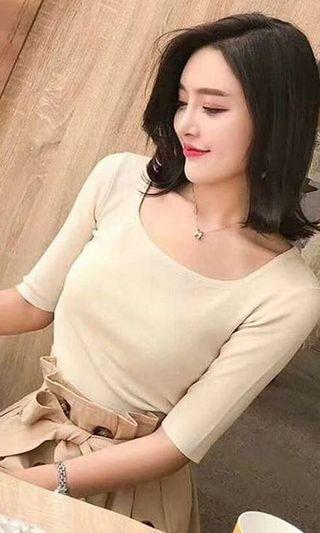 Knit top cream