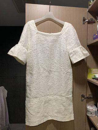 IROO 白色連身短袖洋裝