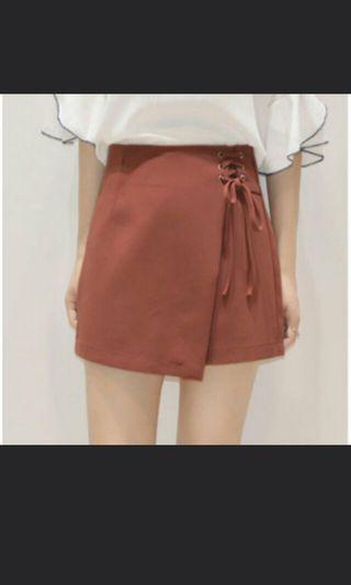 INSTOCK: RED MAUVE SKIRT SKORTS WITH LACE TIE UP RIBBON SIDE