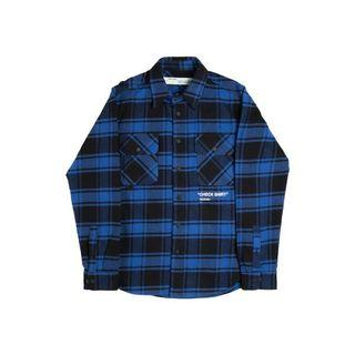 Off White Quote Flannel Shirt XL