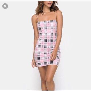 Motel pink tartan dress