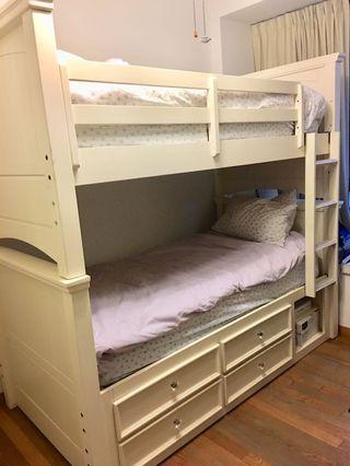 Solid Wood Bunk Beds and Dresser Set