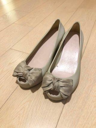 🎀 [Melissa 風格]膠鞋水鞋船跟 ribbon shoes 4.5cm high rain heels flats Mel jelly