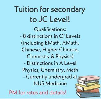 🚚 Tuition for Sec to JC Level!