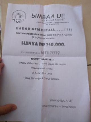 Promo pendaftaran bimba aiueo (kramat kosambi) jaktim250 ribu khusus bulan mei