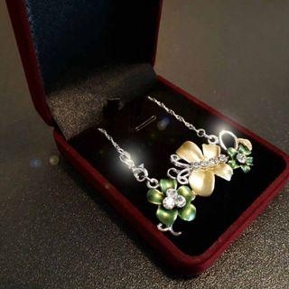 June Holiday Special. Golden and Green Flower Pendant with 925 silver chain