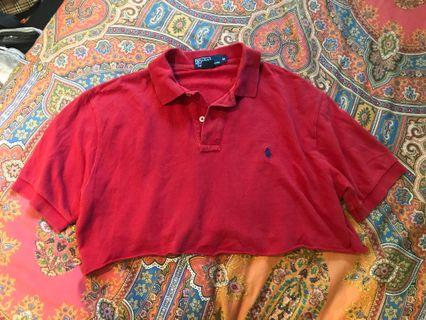 Cropped red polo ralph lauren shirt