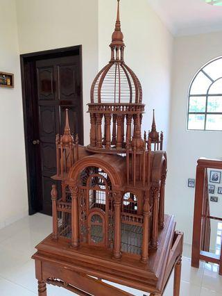 Antique Teak Victorian Style Bird Cage