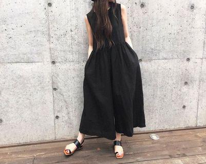 韓 棉麻背心黑色連身褲XL