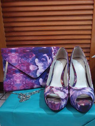 1 paket high heels & sling slim bag ungu