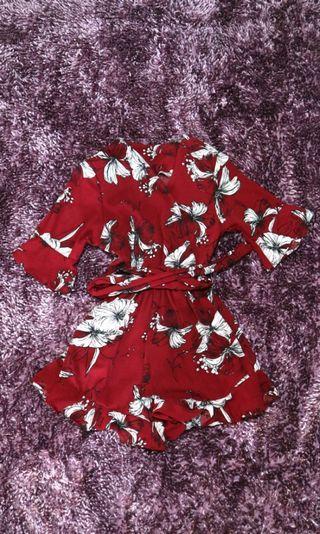 Maroon Flower Jumpsuit