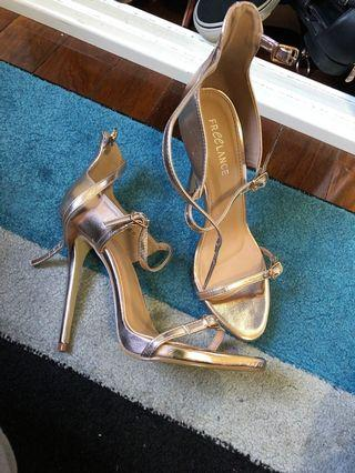 Freelance gold heels worn once