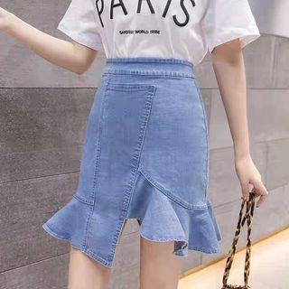 不規則魚尾牛仔裙高腰修身顯瘦荷葉邊包臀半身裙
