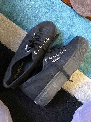 Superga black platforms