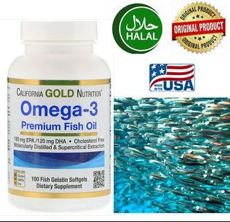 Halal Omega 3 Fish Oil (100 Softgels) Made in USA, Exp 2021