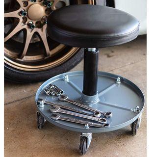 Pneumatic Roller Creeper Seat with Adjustable Height Garage Seat Shop Glider Stool Motorcycle Car DIY Repair Detailing Workshop Mechanic Wheel Wheeled Rolling Chair Seat Black Grey [54% DISC]