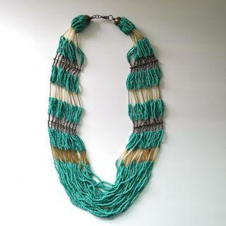 Beaded Necklace   Tri-Color