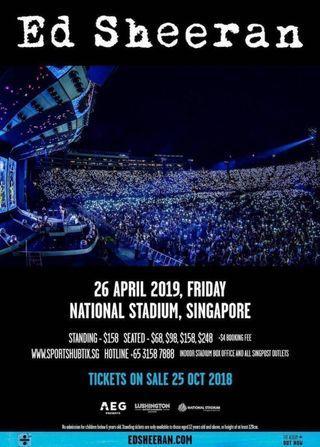 Ed Shereen 2x Cat 4 Concert tickets