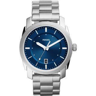 {{ WEEKEND SALES }} Fossil Machine Date-Display Blue-Dial Stainless-Steel Watch