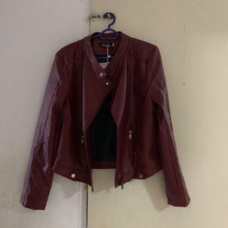 🚚 Maroon Blazer Leather Jacket