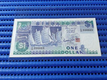 🚚 996669 Singapore Ship Series $1 Note C/36 996669 Dollar Banknote Currency ( 9 Head 9 Tail )