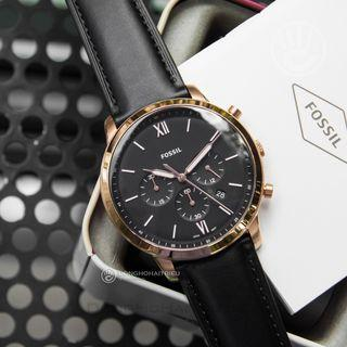 {{ WEEKEND SALES }} Fossil NEUTRA CHRONOGRAPH BLACK LEATHER WATCH