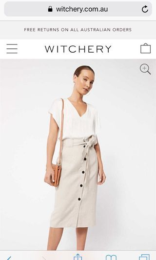 Witchery button up beige linen skirt