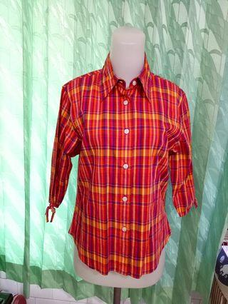 Atasan blouse Kemeja stretch venezia jeans checker shirt