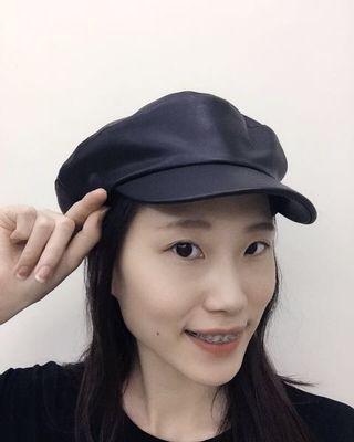 🚚 皮革報童帽