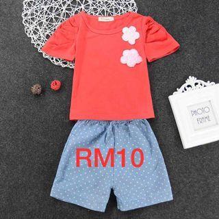 Red n blue Shirt set