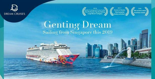 Genting dream crusie balcony cabin sailing for 2 nights 4 pax to go