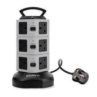 (2586) Extension Lead, DoubleYI 12 Way Outlets Socket Vertical Power Strip Surge Protector with Retractable 3m/9.8Ft Power Extension Cord