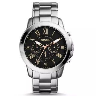 {{ WEEKEND SALES }} Fossil Original Grant Chronograph Silver Stainless Steel Men Watch