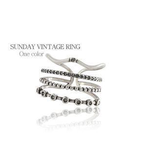 Delicate 925 Thai silver Vintage Zirconia Ring ❬KY❭