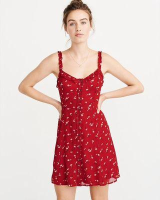 Abercrombie and Fitch Button Front Red Floral Dress