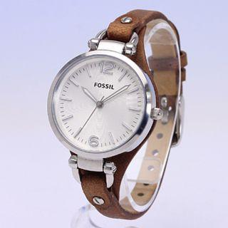 {{ WEEKEND SALES }} Fossil ES3060 Georgia Silver Dial Brown Leather Analog Ladies Fashion Watch No Ratings