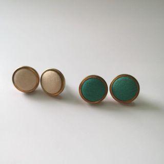 Flat Stud Earrings with Gold Steel Edges