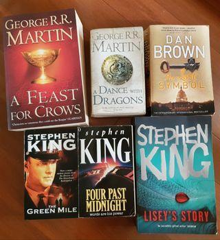 Steven King, George R. R. Martin and Dan Brown Novels