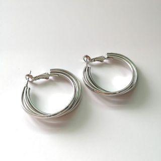 Tri - Hoop Earrings   Silver