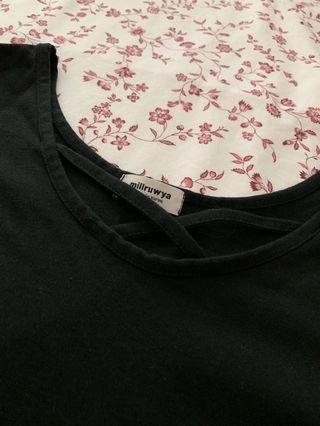Plus Size Criss Cross Black Top