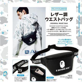 日本雜誌 A BATHING APE 附贈 猿人 經典 黑色 LOGO  腰包 斜背包 側背包 肩背包 斜肩包 單肩包