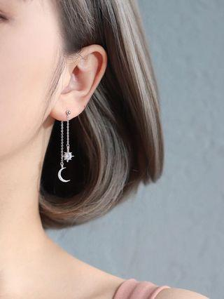DANGLY JEWEL & MOON EARRINGS